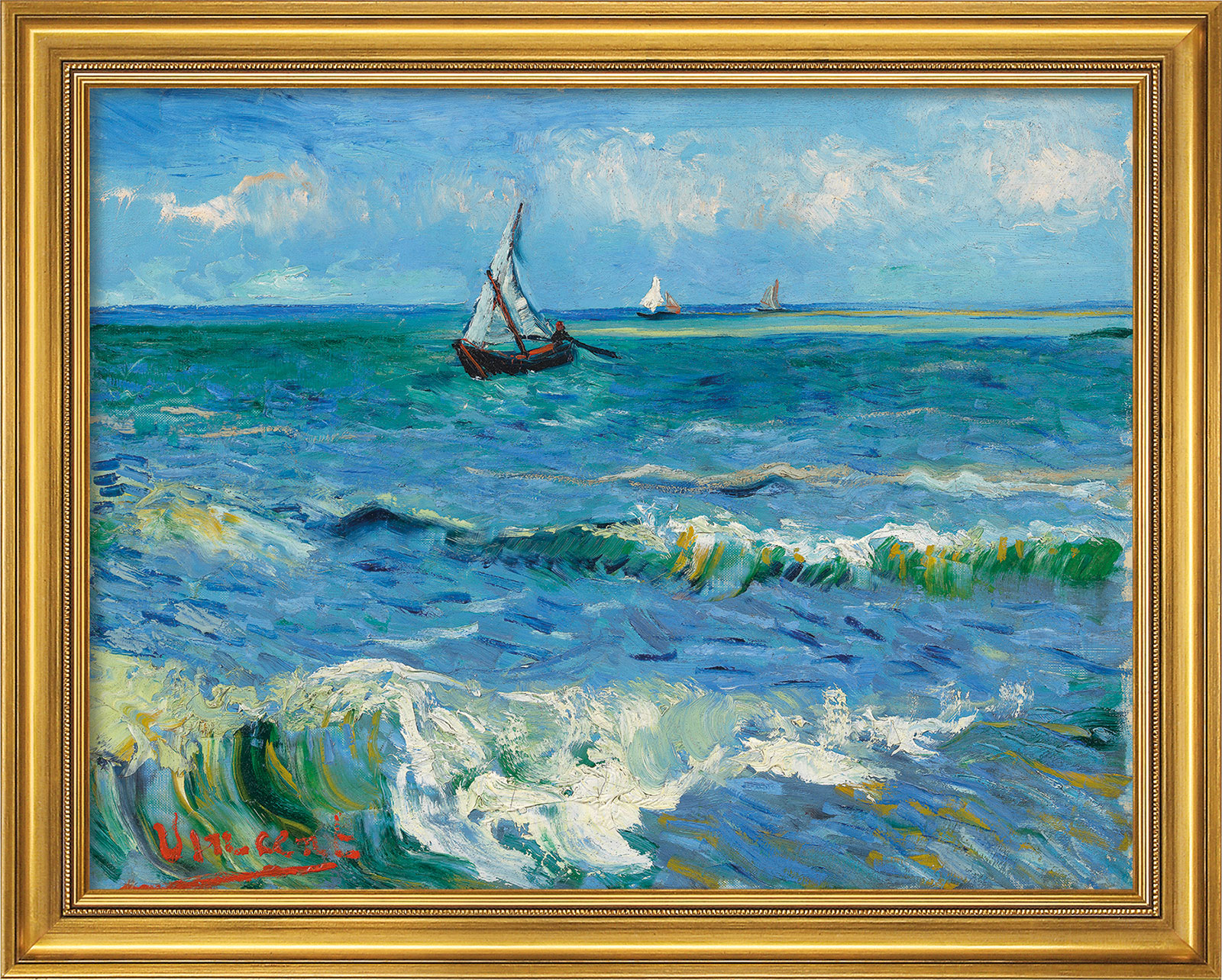 "Bild ""Das Meer bei Les Saintes-Maries-de-la-Mer"" (1888), Version goldfarben gerahmt"
