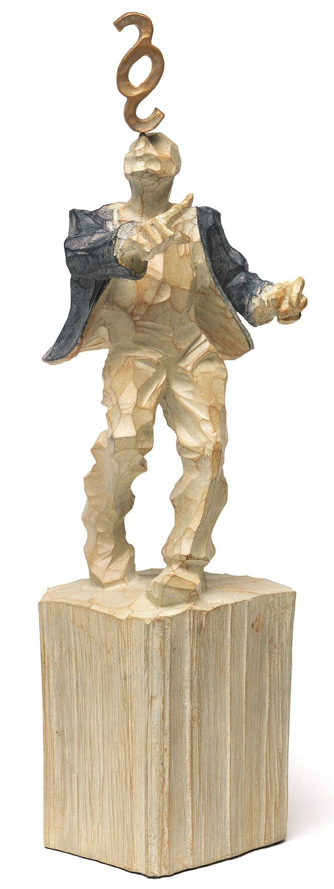 "Skulptur ""Jurist"", Kunstguss Holzfinish"