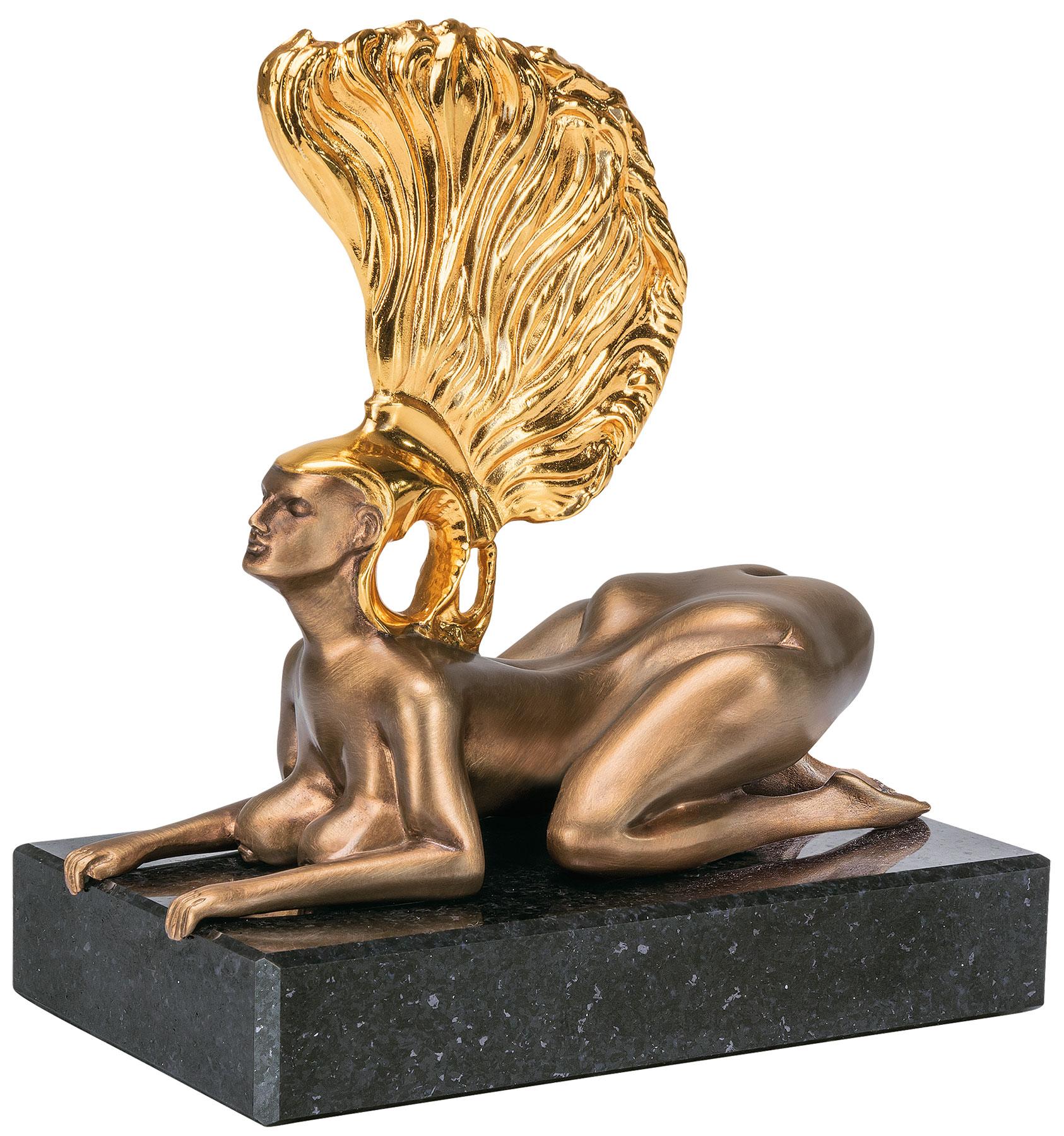 """Skulptur """"Die Sphinx mit dem Goldhelm - Die Miniatur"""", Bronze teilvergoldet"""