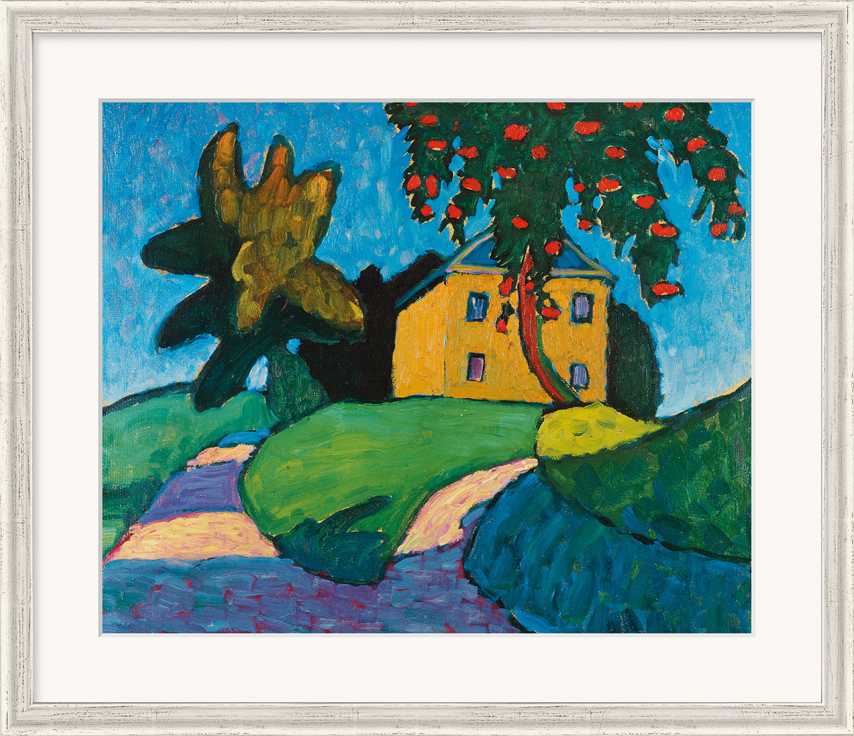 "Bild ""Gelbes Haus mit Apfelbaum"" (um 1910), gerahmt"