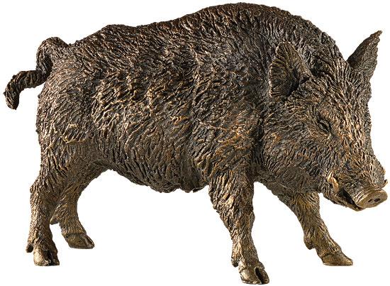 """Skulptur """"Wildschwein"""", Kunstbronze"""