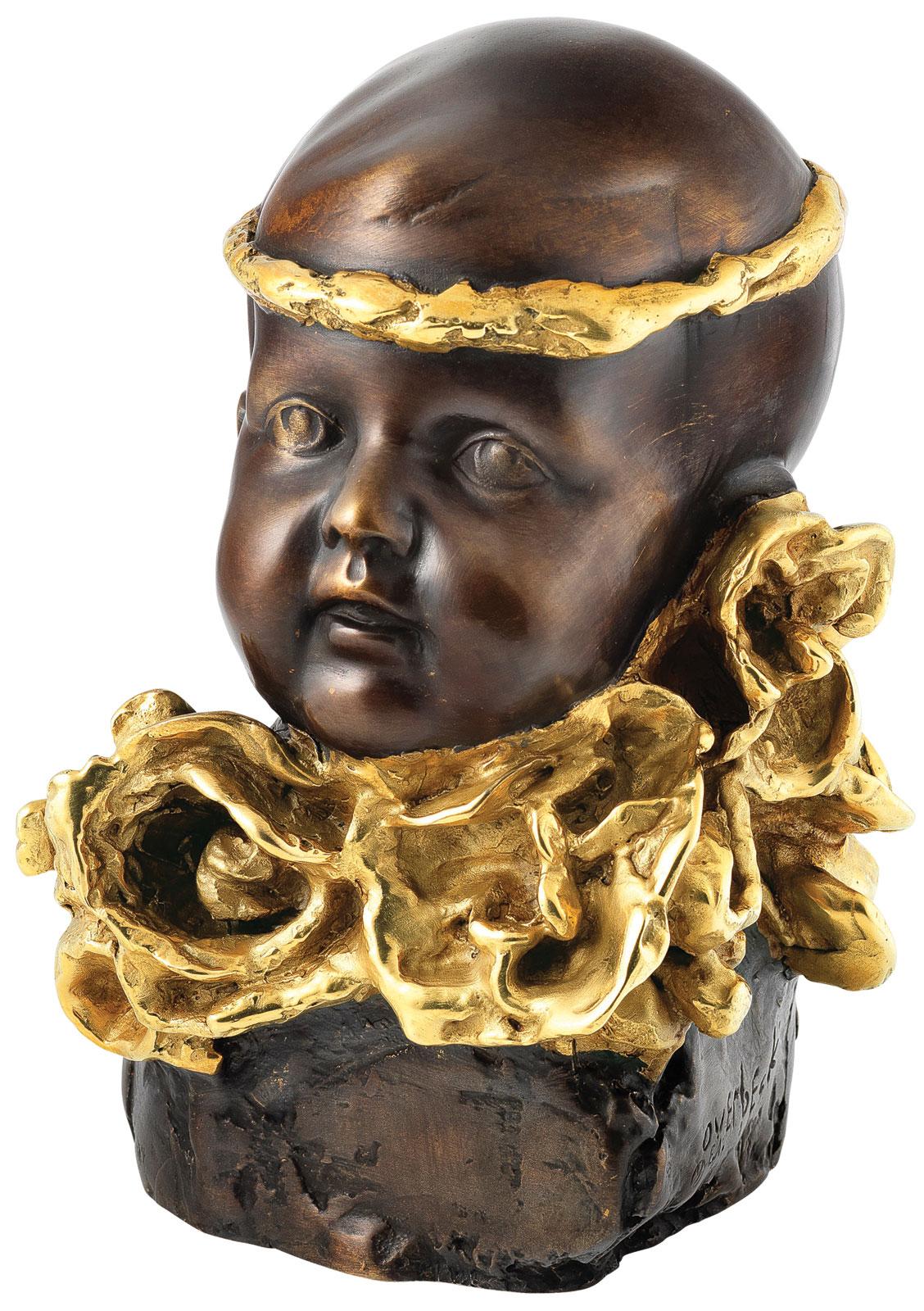"Skulptur ""Junge mit goldenem Stirnband"", Bronze teilvergoldet"
