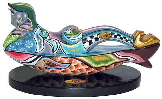 """Sternzeichen-Skulptur """"Fisch/Pisces"""" (20.2.-20.3.), Kunstmarmor handbemalt"""