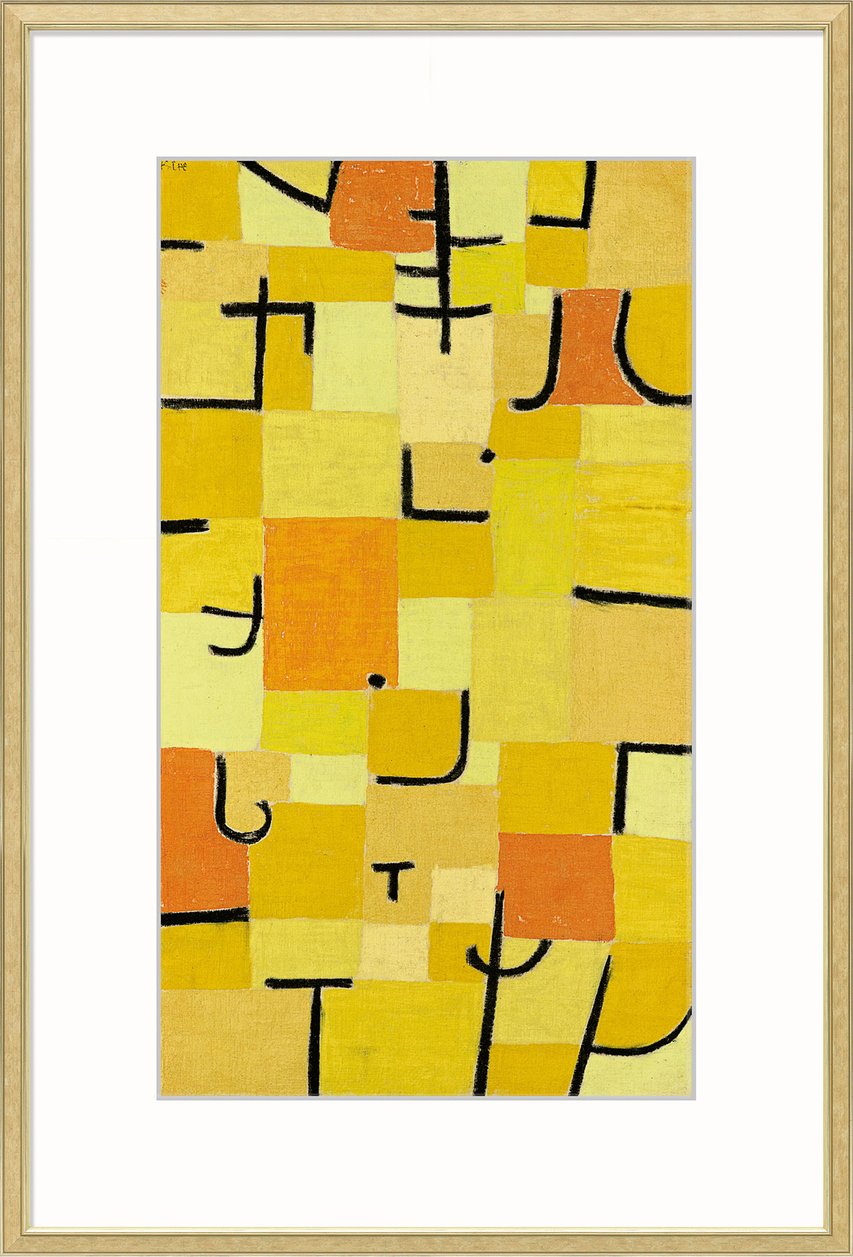 """Bild """"Zeichen in Gelb"""" (1937), gerahmt"""