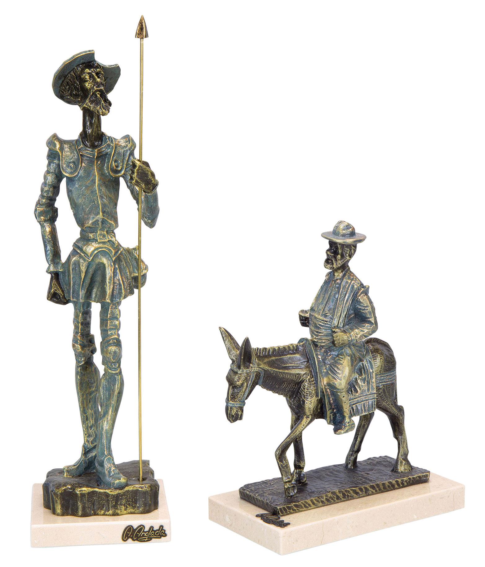 "Skulpturenset ""Don Quijote und Sancho Panza en Burro"", Kunstguss Steinoptik"