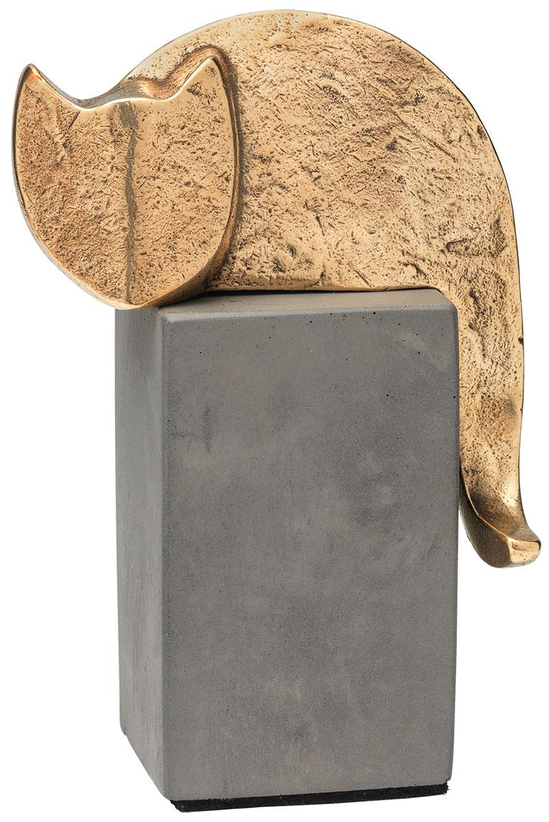 """Skulptur """"Katze"""", Bronze auf Beton"""