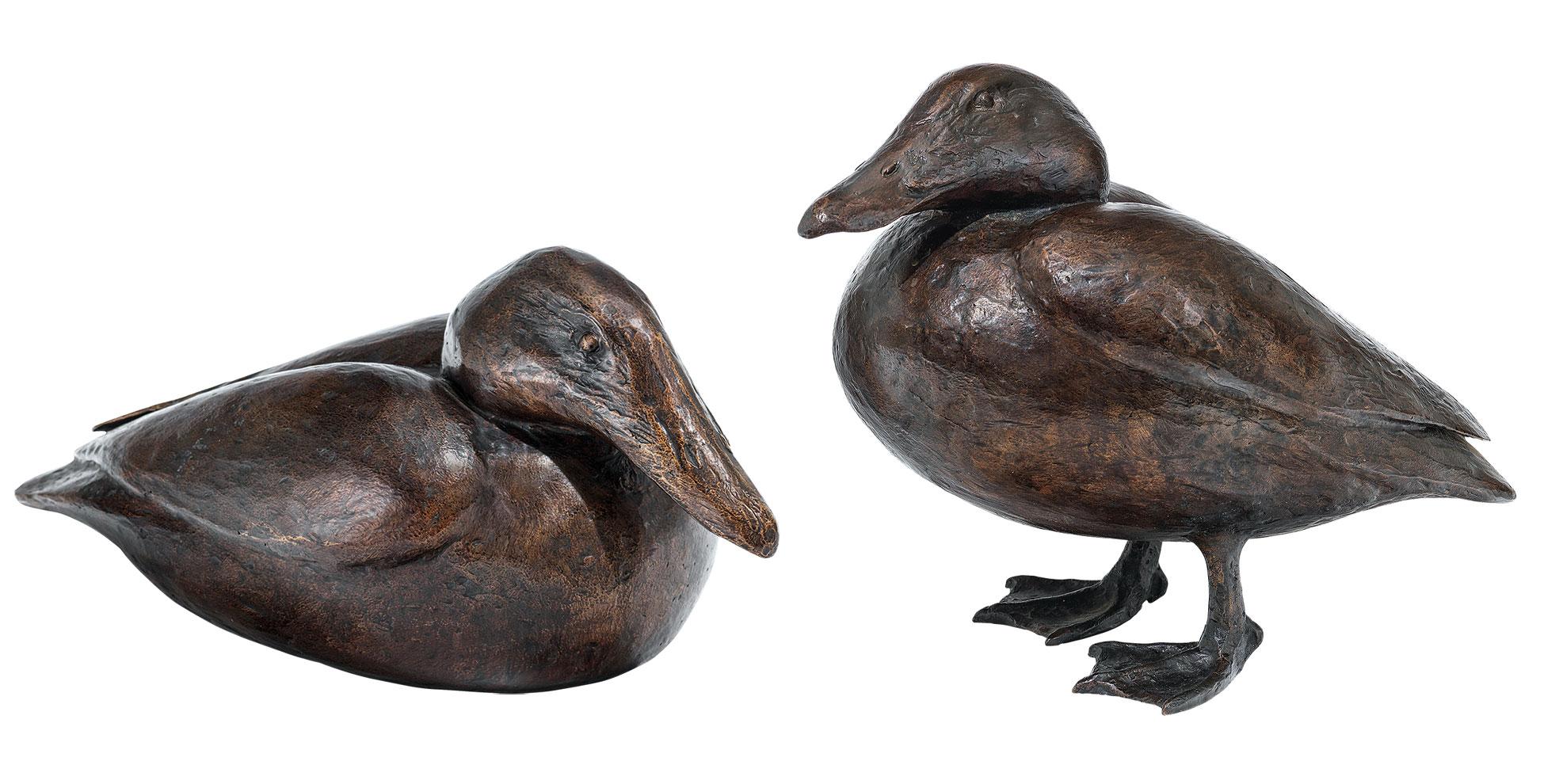 """2 Gartenskulpturen """"Eiderenten"""" im Set, Bronze"""