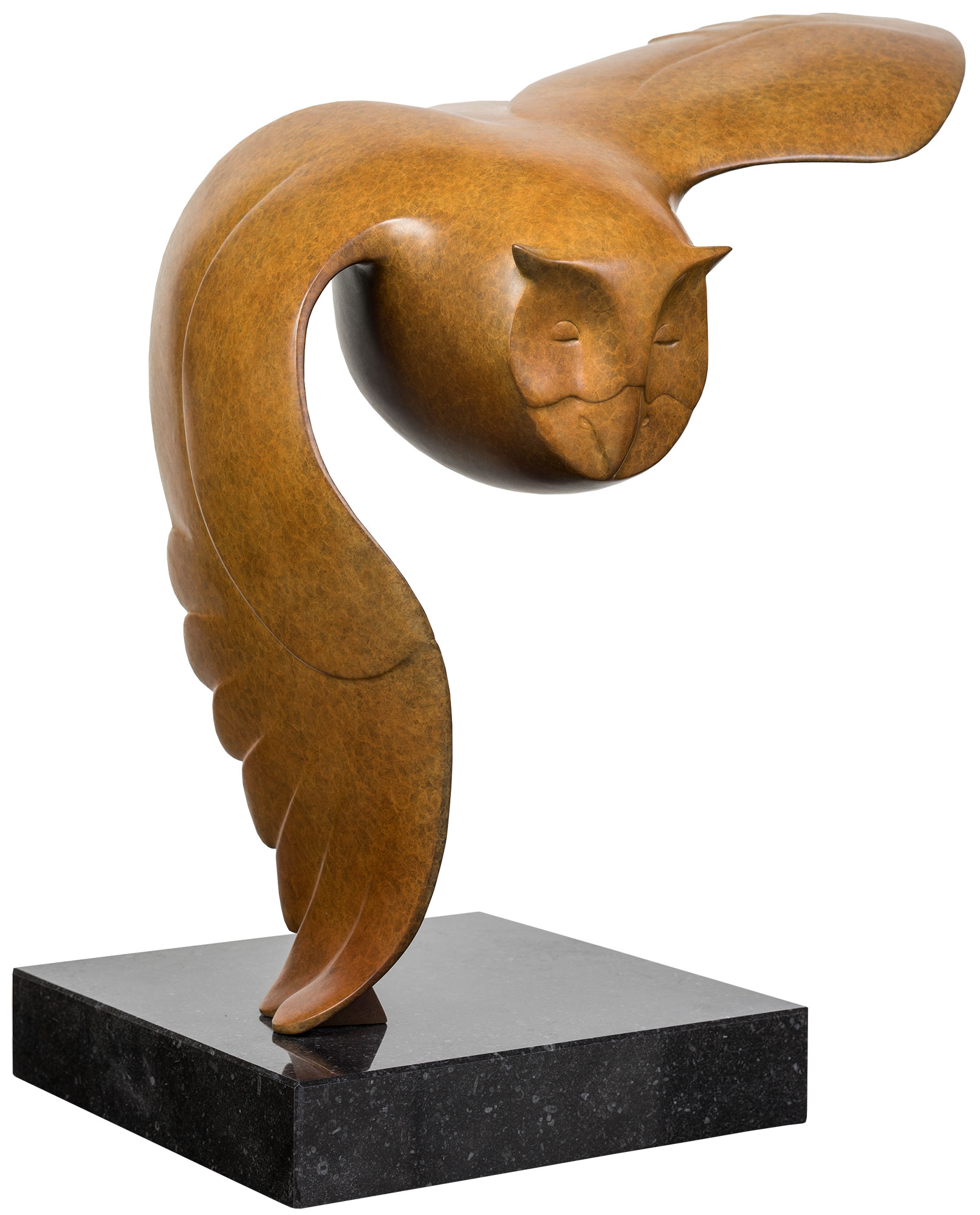 "Skulptur ""Fliegende Eule Nr. 3"", Bronze braun"