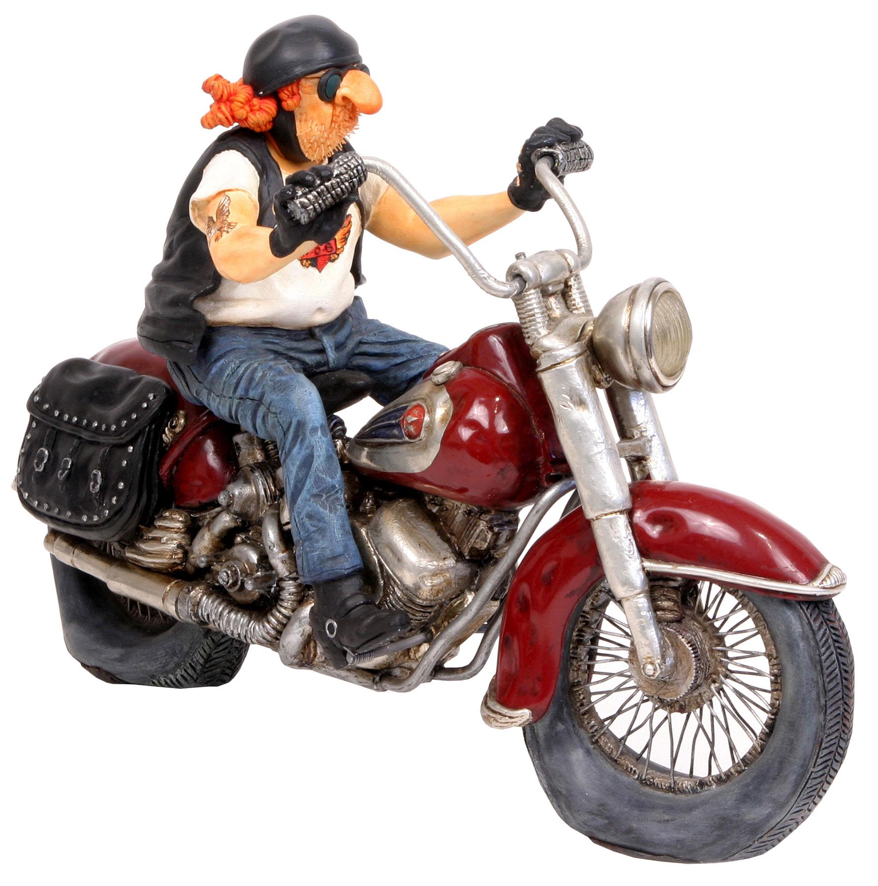 "Karikatur ""Motorbike"", Kunstguss handbemalt"