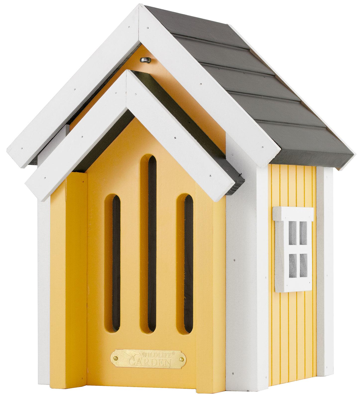 Schmetterlingshaus aus Holz, gelb