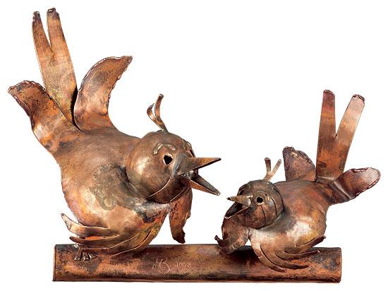 """Skulptur """"Spatzenpaar"""", Kupfer"""