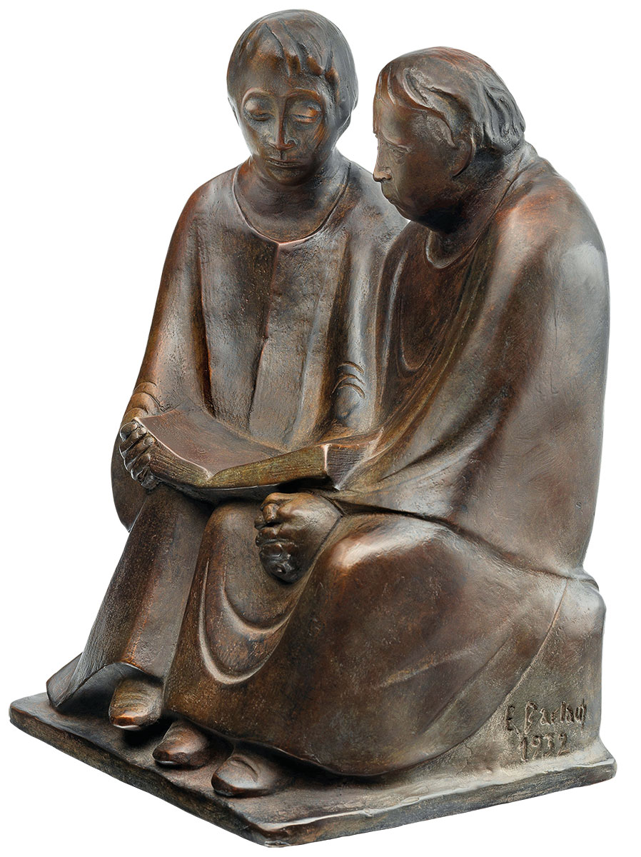 """Skulptur """"Lesende Mönche III"""" (1932), Reduktion in Bronze"""