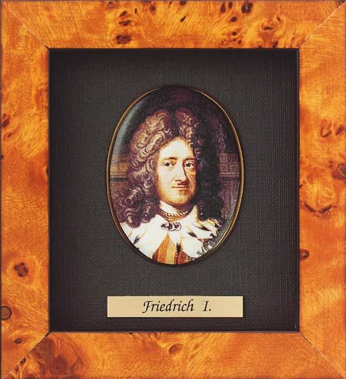 """Miniatur-Porzellanbild """"Friedrich I. von Preußen"""" (1657-1713), gerahmt"""