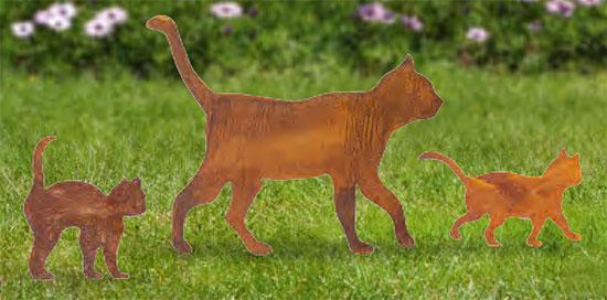 """Gartenstecker """"Katzenfamilie"""", 3er-Set"""
