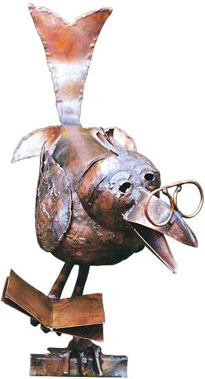 """Skulptur """"Raben-Professor"""", Kupfer"""