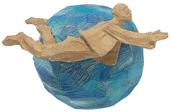 """Planetarier """"Der Trabant"""", Kunstguss Holzfinish"""