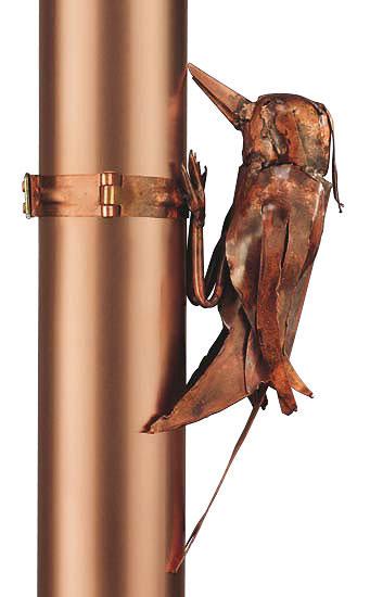 """Skulptur """"Fallrohr-Specht"""", Kupfer"""