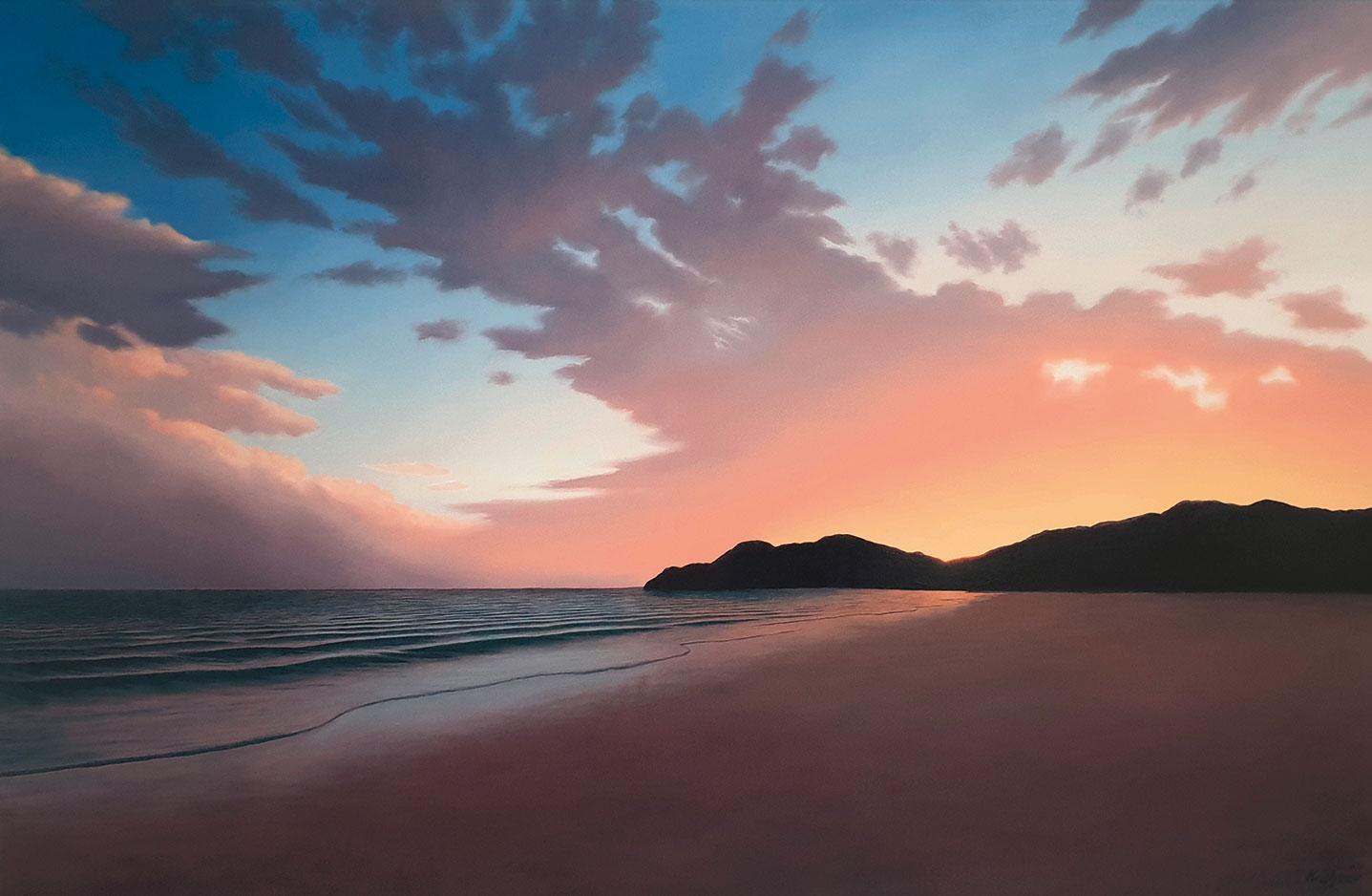 """Bild """"Abendlicher Strand VI"""" (2020) (Original / Unikat), auf Keilrahmen"""