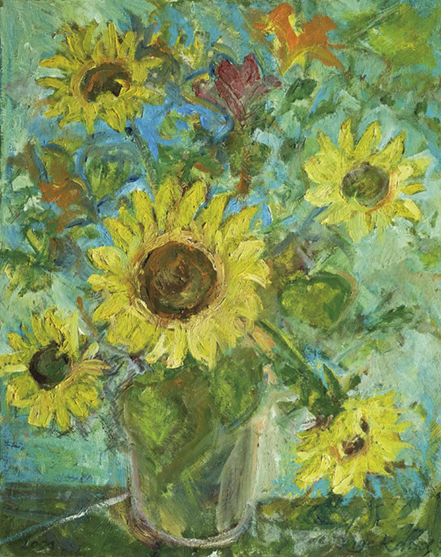 """Bild """"Vase mit Sonnenblumen vor Hibiskus"""" (2001) (Unikat)"""