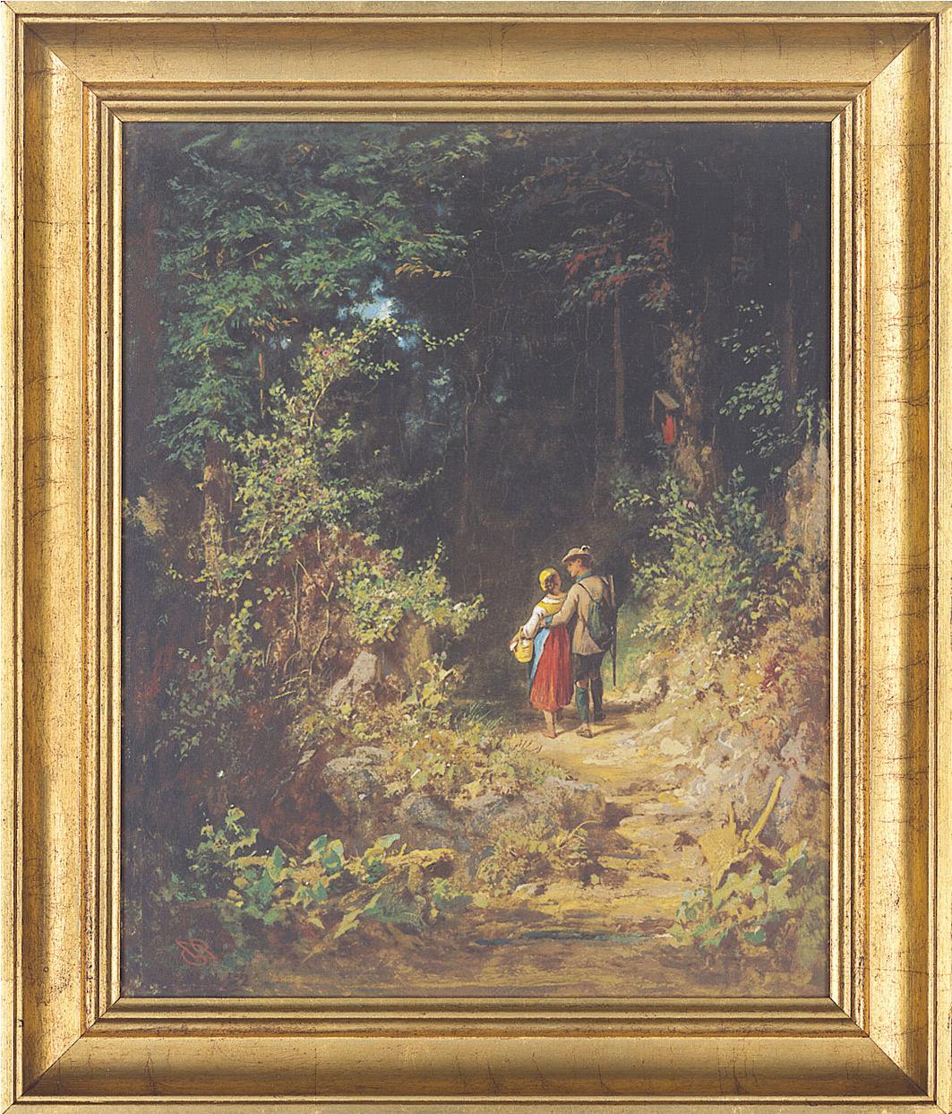 """Bild """"Liebespaar im Walde"""", gerahmt"""