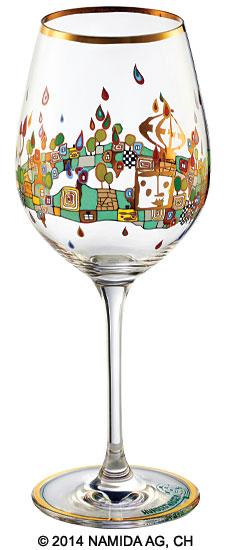 "(PM XIX/6) Weinglas ""BEAUTY IS A PANACEA - Gold - Rotwein"""
