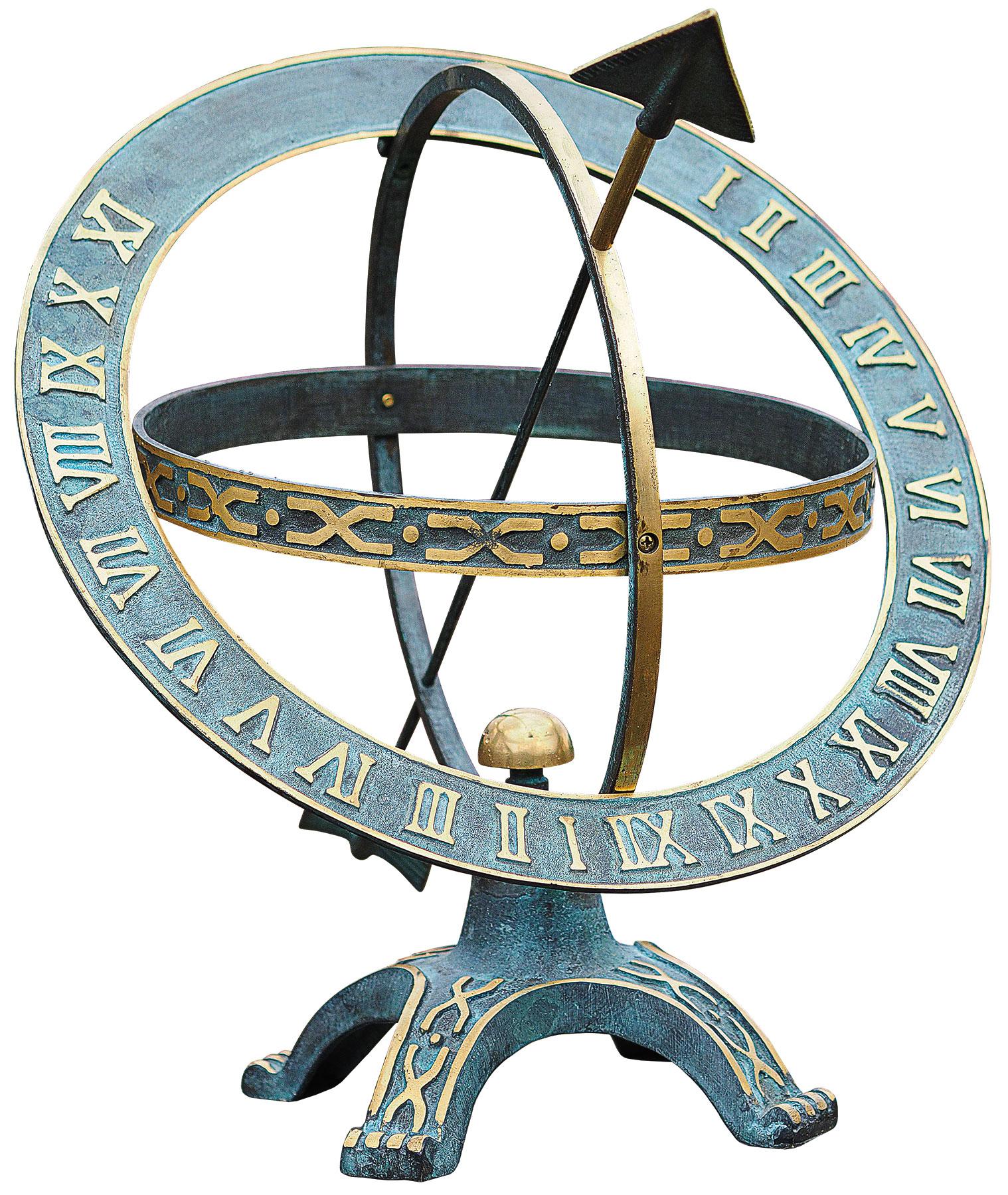 """Sonnenuhr """"Stundenring"""" aus Bronze, patiniert/poliert, bunt"""