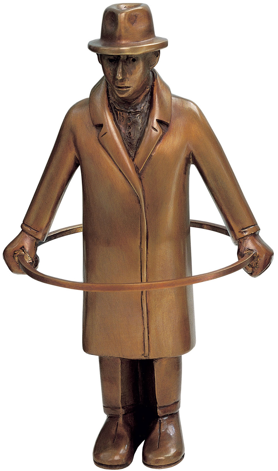 "Skulptur ""Mann mit Reifen - Noli me tangere!"", Bronze"