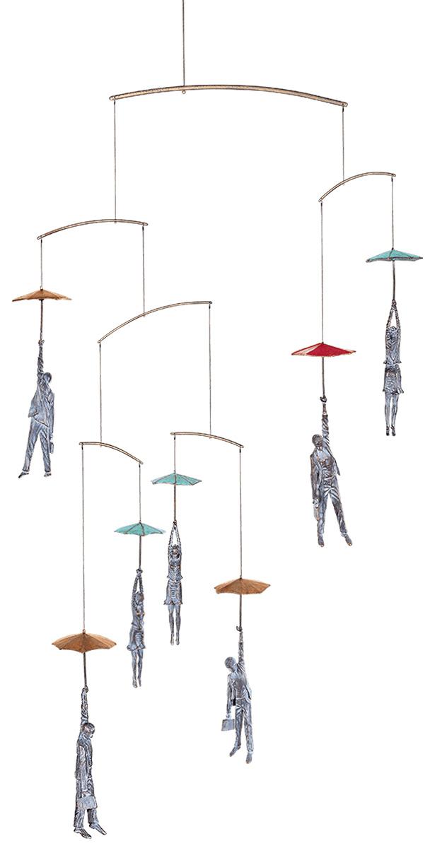 "Skulpturen / Decken-Mobile ""Unsicherer Flug"", Bronze"