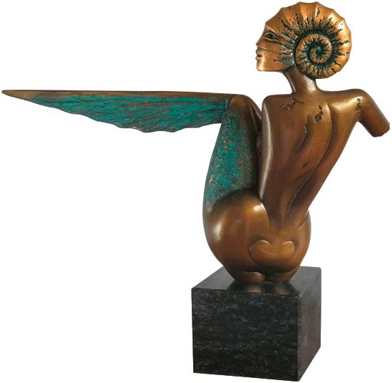 "Skulptur ""Goldammonite"", Bronze"