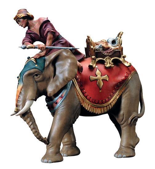 "Krippenfigur ""Elefant mit Mahut"", handbemalt"