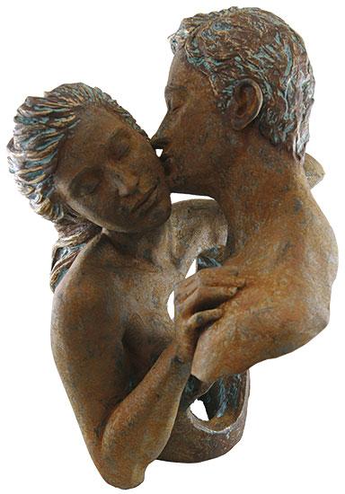 """Skulptur """"Contact"""", Kunstguss Steinoptik"""