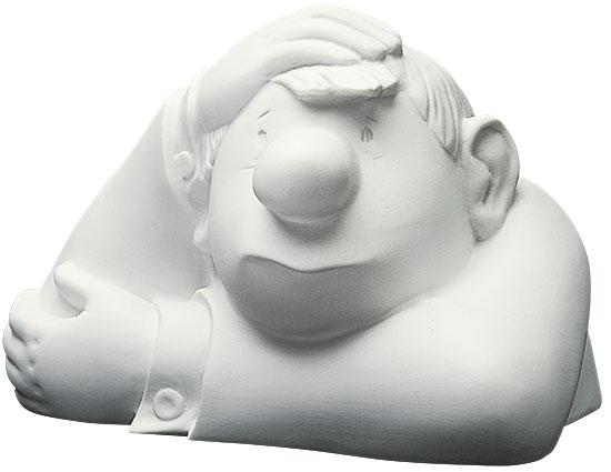 """Skulptur """"Der kleine Denker"""", Version in Porzellan"""