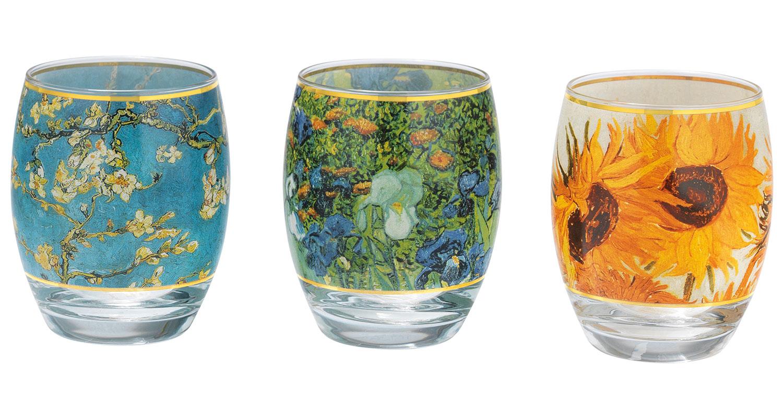 3 Teelichtgläser mit Künstlermotiven im Set