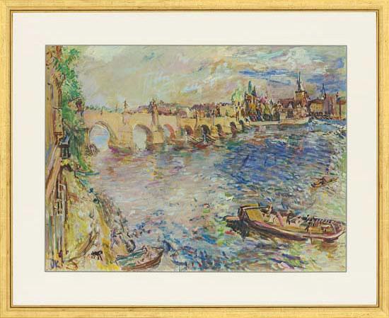 """Bild """"Prag, Karlsbrücke"""" (60er-Jahre), gerahmt"""