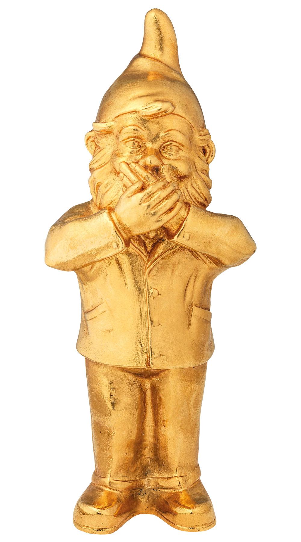 """Skulptur """"Geheimnisträger - Nichts sagen"""", Version vergoldet"""