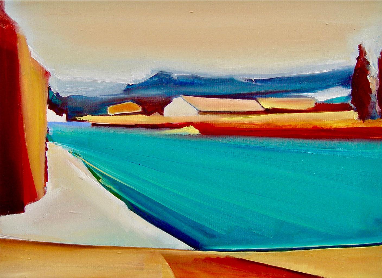 Christin Lutze: Bild 'Am Fluss' (2020) (Original / Unikat), auf Keilrahmen
