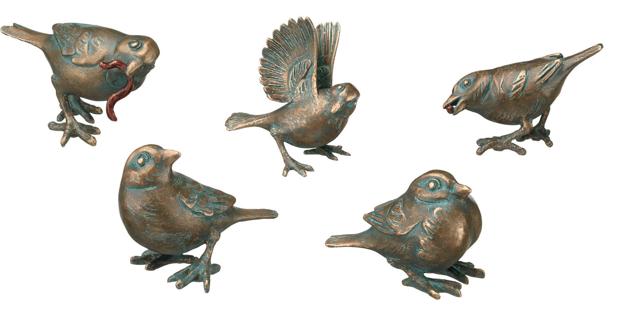 "5 Gartenskulpturen ""Spatzen"" im Set, Bronze"