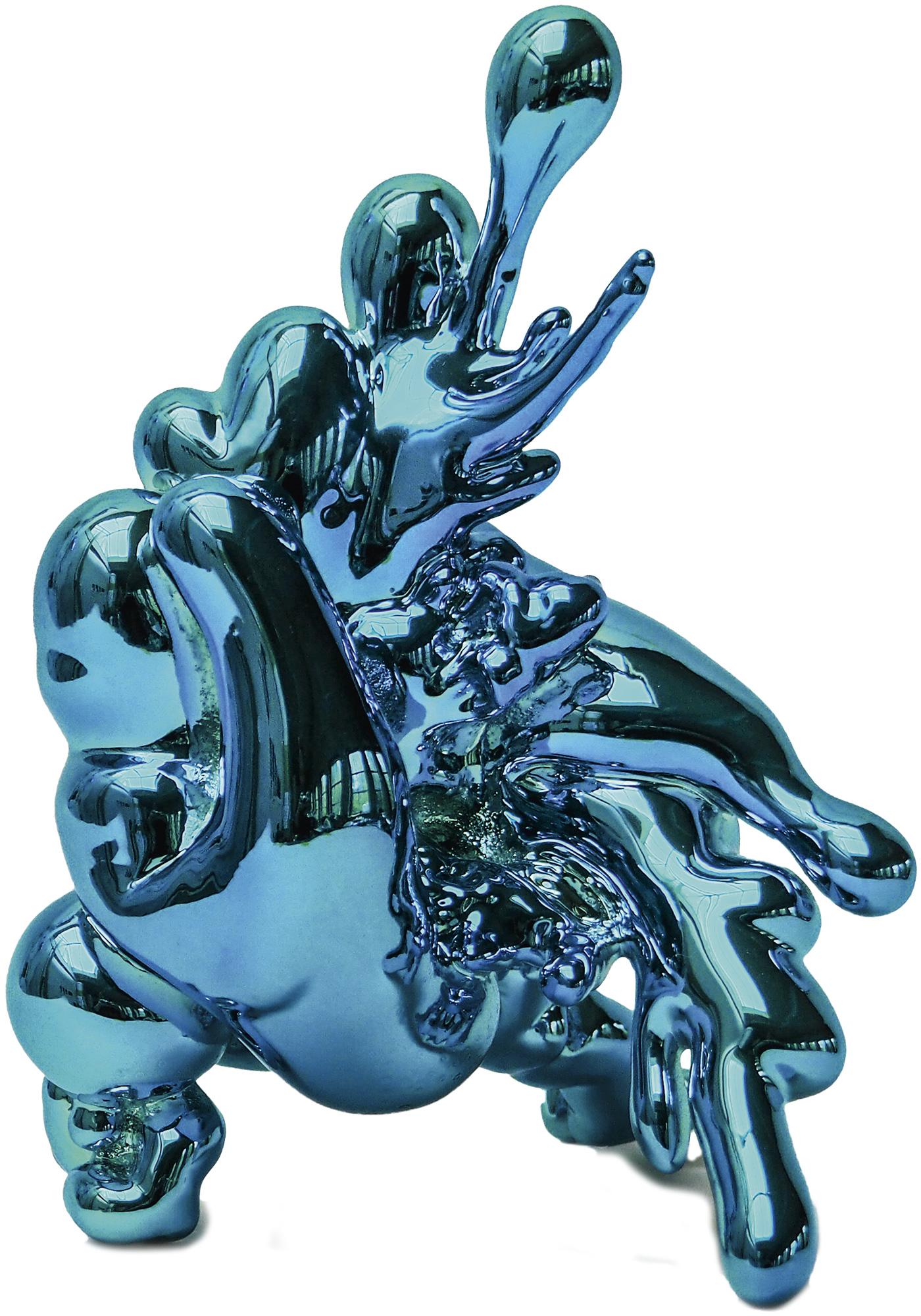 """Skulptur """"Implosion 18 #1 (blau)"""" (2014)"""