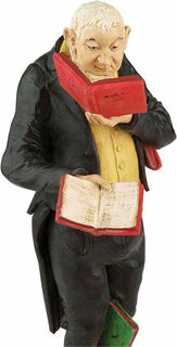 "Skulptur ""Der Bücherwurm"", Version in Kunstguss handbemalt"
