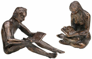 "Skulpturenpaar ""Buchleser & Buchleserin"", Metallguss"