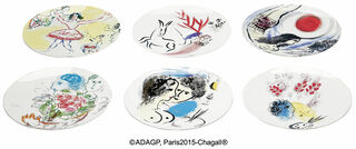 Kollektion Marc Chagall von Bernardaud - 6 Teller mit Künstlermotiven im Set, Porzellan
