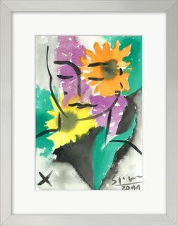 "Bild ""Eva on Flowers"" (2011) (Original / Unikat), gerahmt"