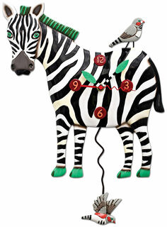 "Wanduhr ""Zebra"", Kunstguss handbemalt"