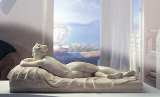 "Skulptur ""Das ruhende Mädchen"" (1826), Kunstmarmor"