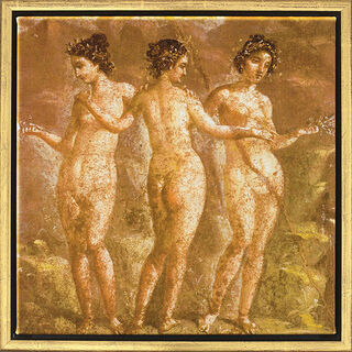 """Wandmalerei aus Pompeji: Bild """"Die drei Grazien"""", gerahmt"""