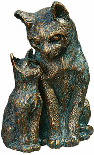 """Gartenskulptur """"Katze mit Jungem"""", Bronze"""