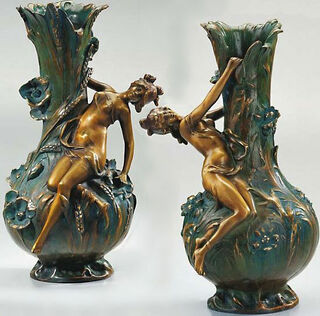 """Vasen """"Maguerites"""" und """"Coquelicot"""" im Set , Version in Kunstbronze"""