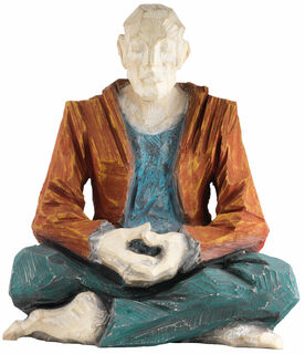 "Skulptur ""Der Yogi"" (2020) (Original / Unikat), Holz handbemalt"