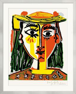 """Bild """"Frau mit Pompom-Hut und einer bedruckten Bluse"""" (1962), gerahmt"""