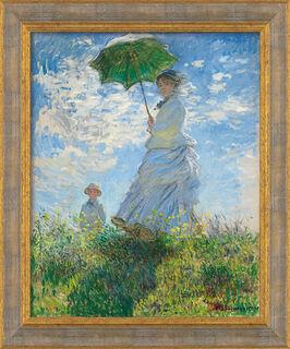 """Bild """"Frau mit Sonnenschirm (Madame Monet und ihr Sohn)"""" (1875), gerahmt"""